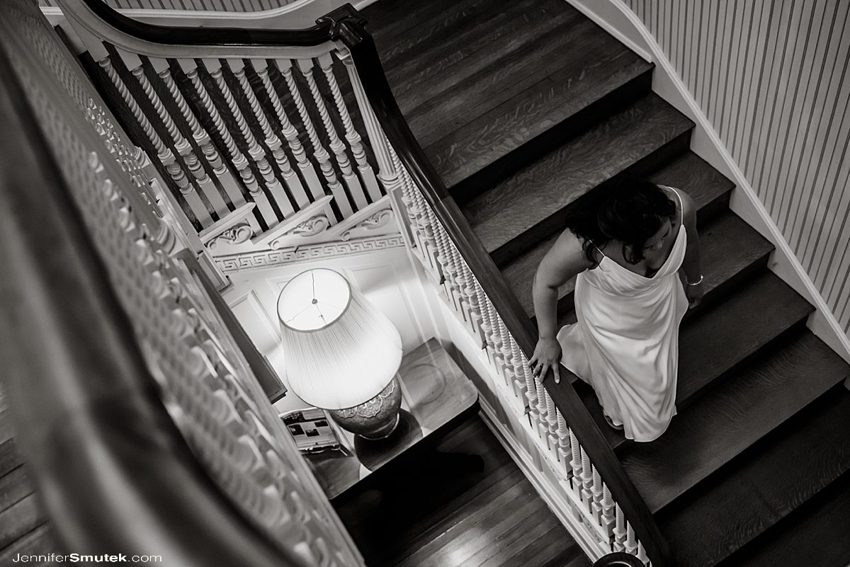 bride walking down to wedding ceremony Intimate Weekday Elopement at the Liriodendron