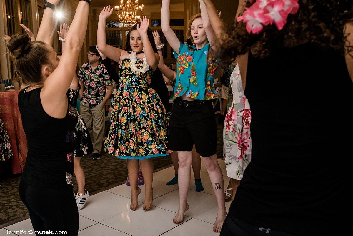 people dancing at a Bat mitzvah at the baltimore zoo