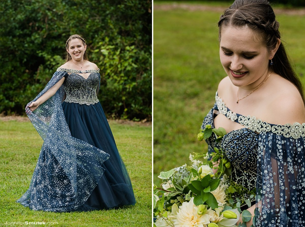 bride with blue wedding gown and cape