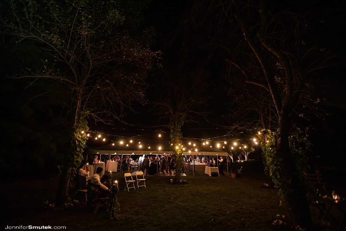 string lights at a backyard wedding in maryland