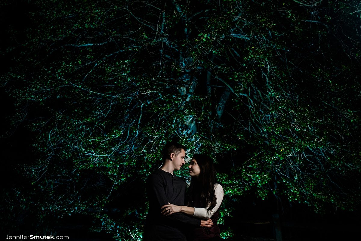couple with trees lit with magmod color gels