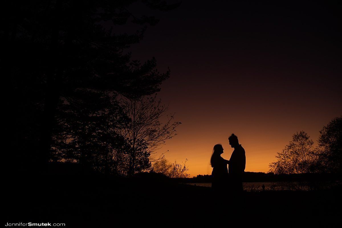 sunset during Fall Loch Raven Engagement Session