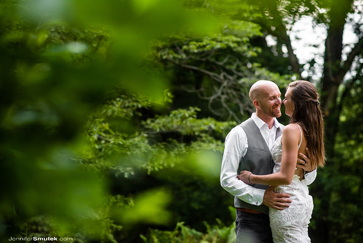 bride and groom embracing during a micro wedding in maryland