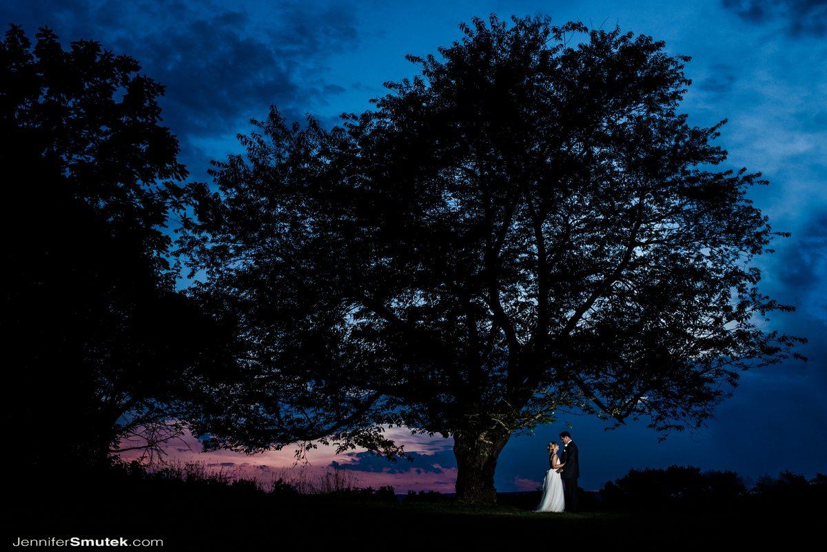 sunset wedding photo with bride and groom small wedding maryland