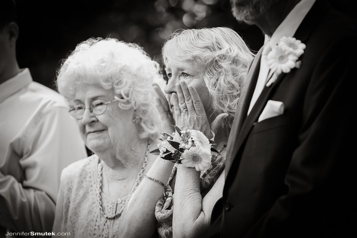 black and white photo of mom crying at micro wedding baltimore