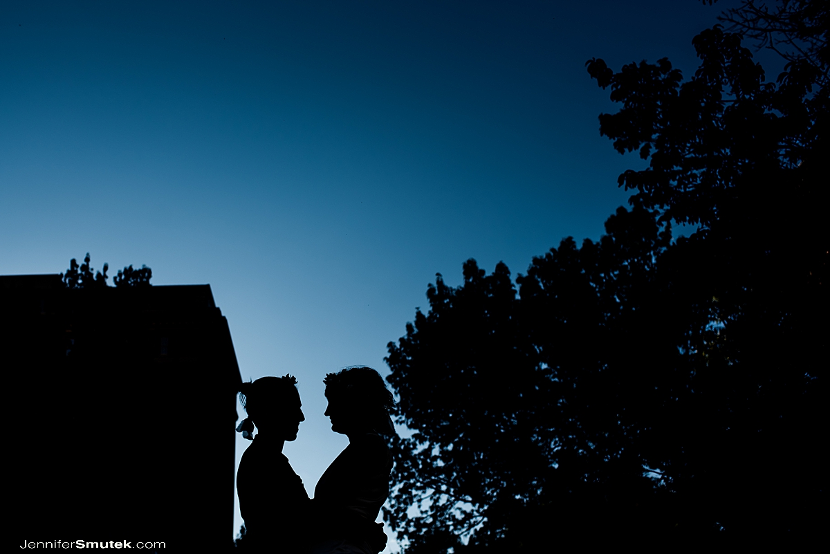 silhouette of two brides baltimore micro wedding