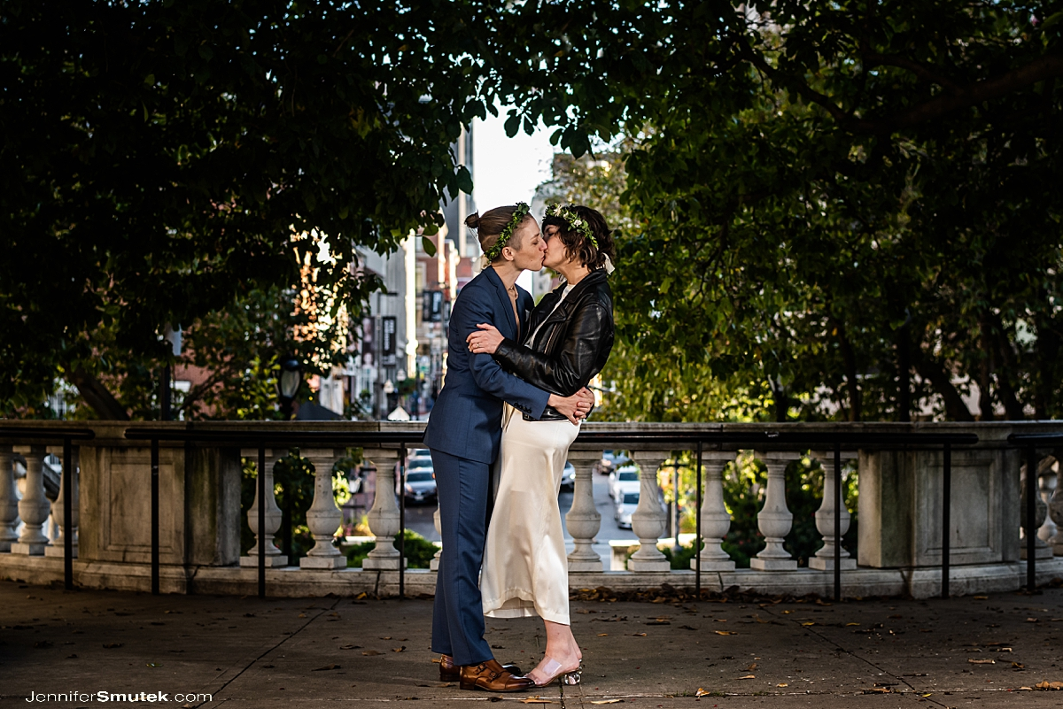 two brides kissing in baltimore