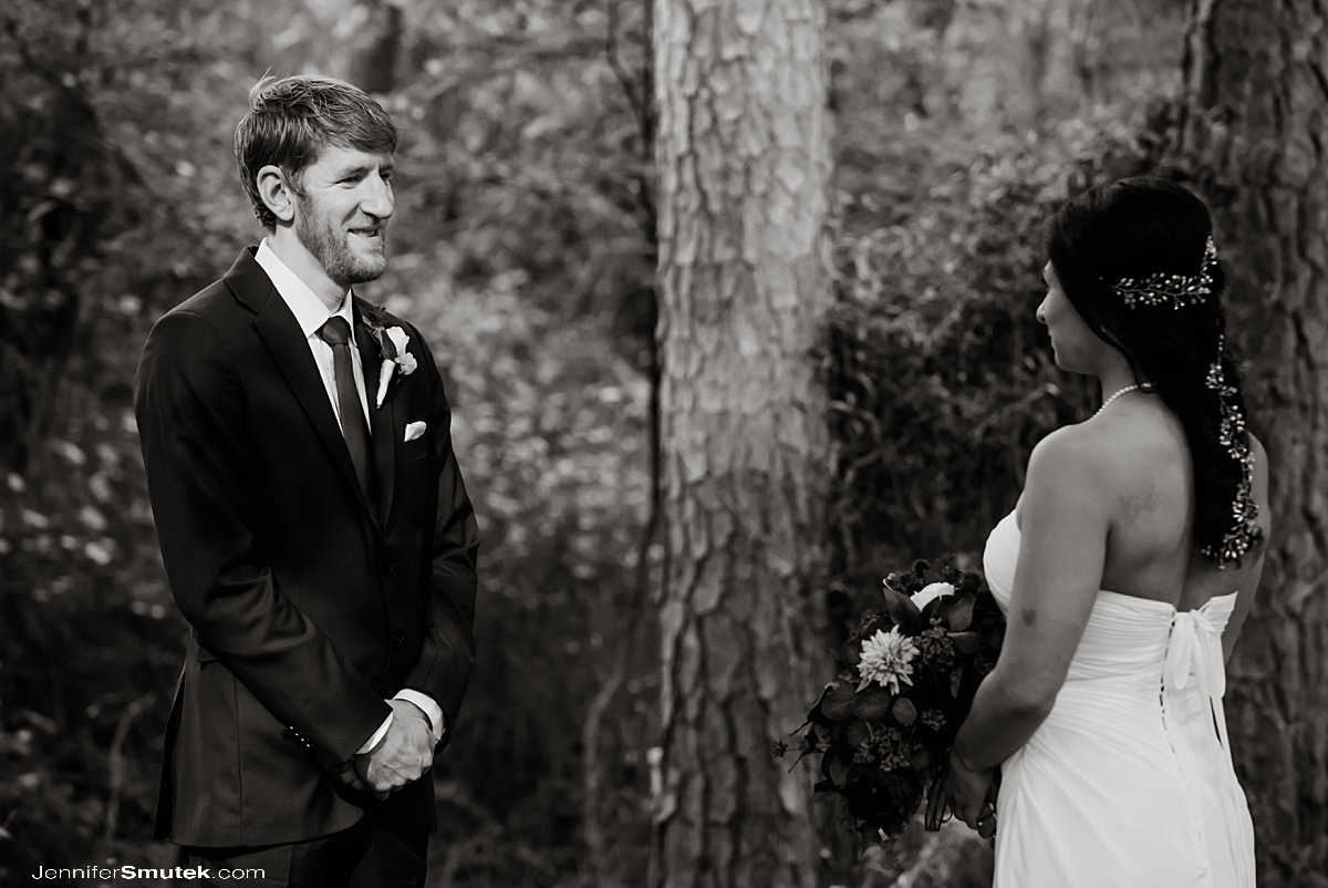 black and white woodland backyard micro wedding