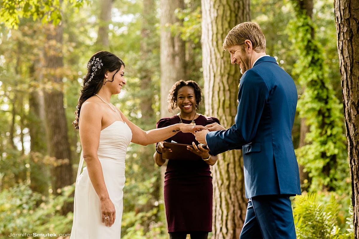 woodland backyard micro wedding