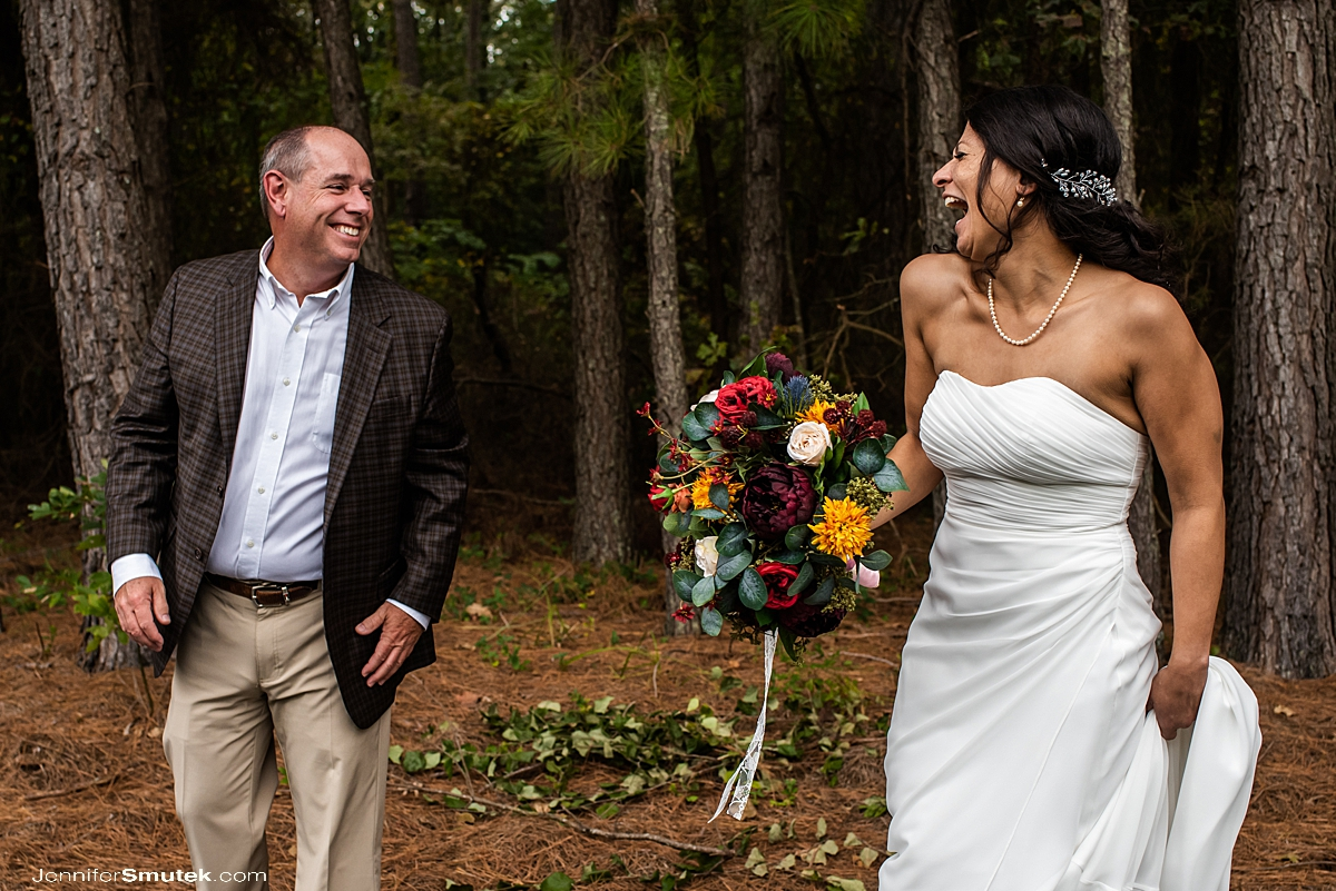 bride and guest laughing fearless wedding photography