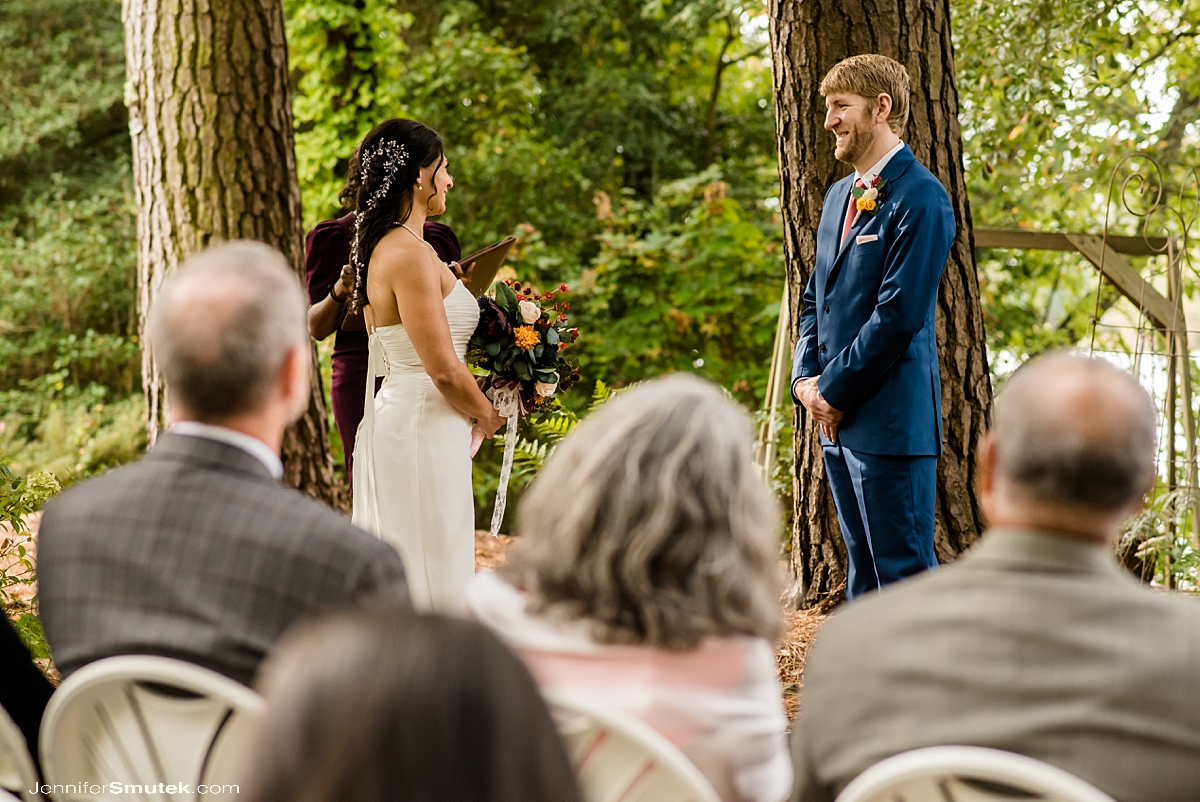 bride and groom backyard micro wedding ceremony