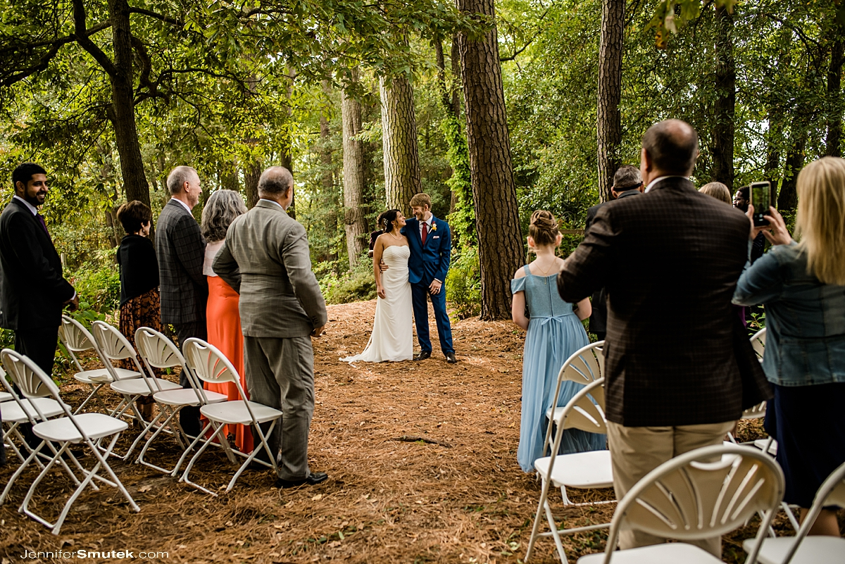 backyard micro wedding ceremony