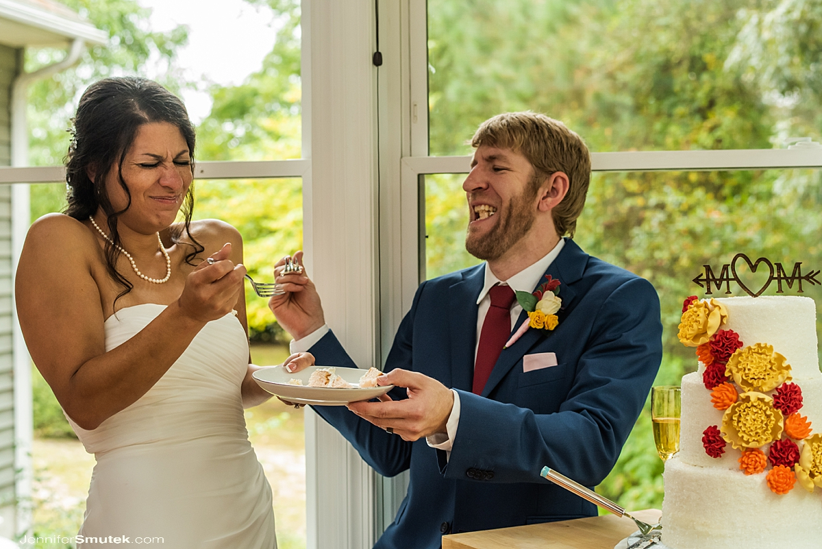 laughing during cake cutting