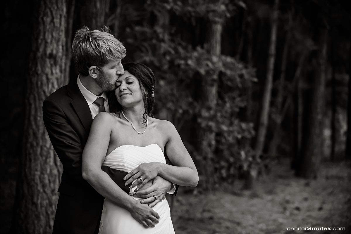 black and white photo backyard micro wedding