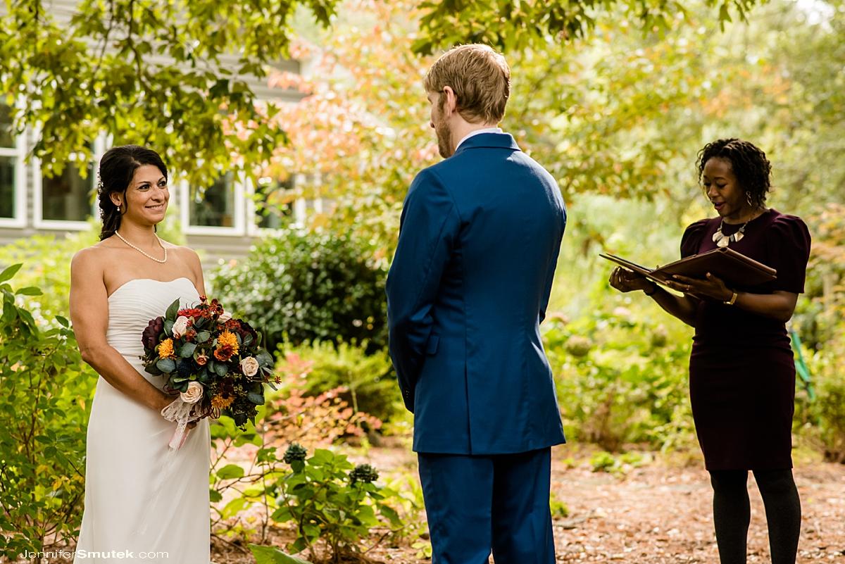 backyard micro wedding ceremony