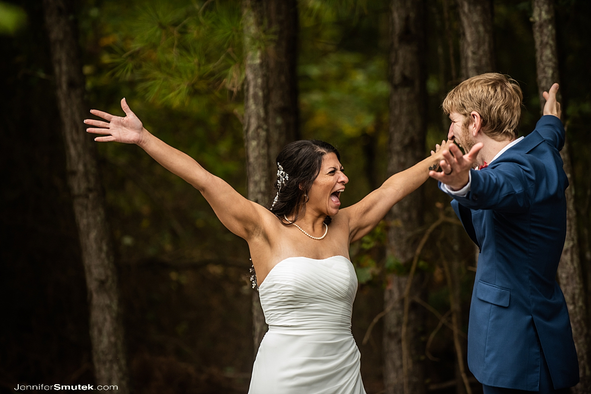 bride and groom excited