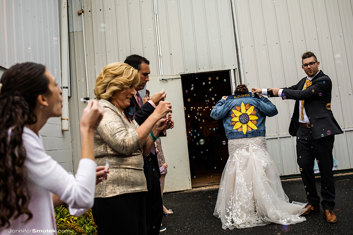 custom denim jacket bride