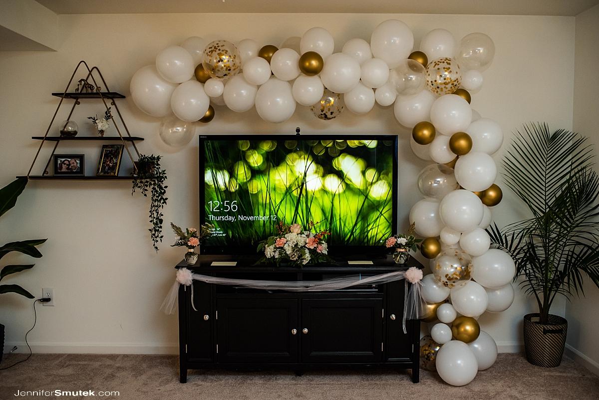 balloon arch at covid wedding