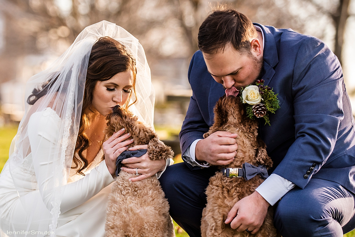 Annapolis micro wedding photographer couple kissing dogs