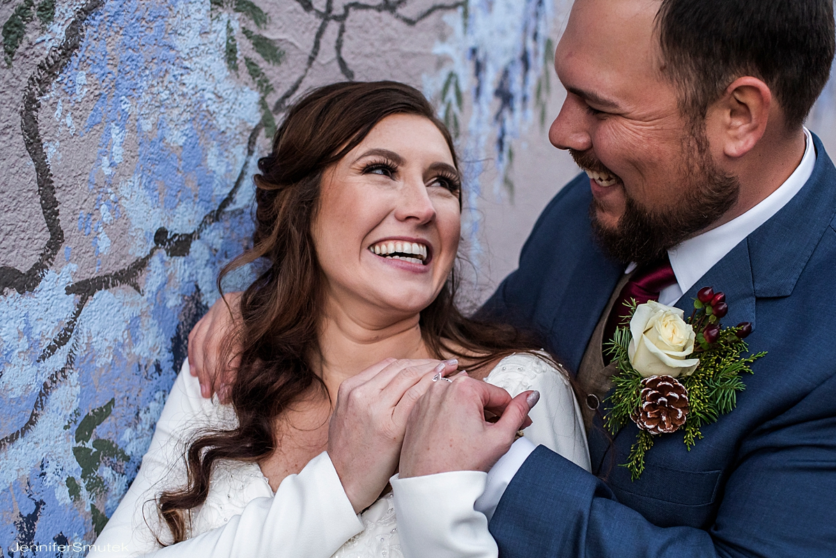 bride and groom laughing baltimore wedding photographer