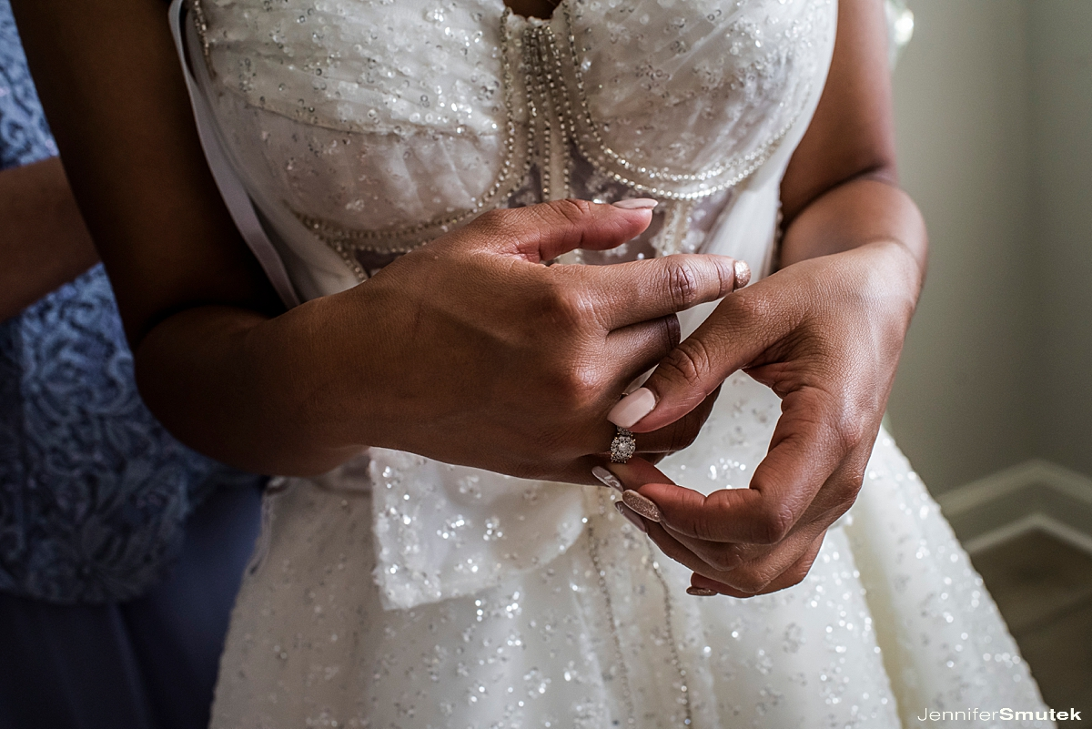 bride playing with wedding ring