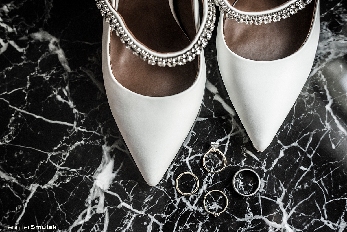 bridal shoes and rings