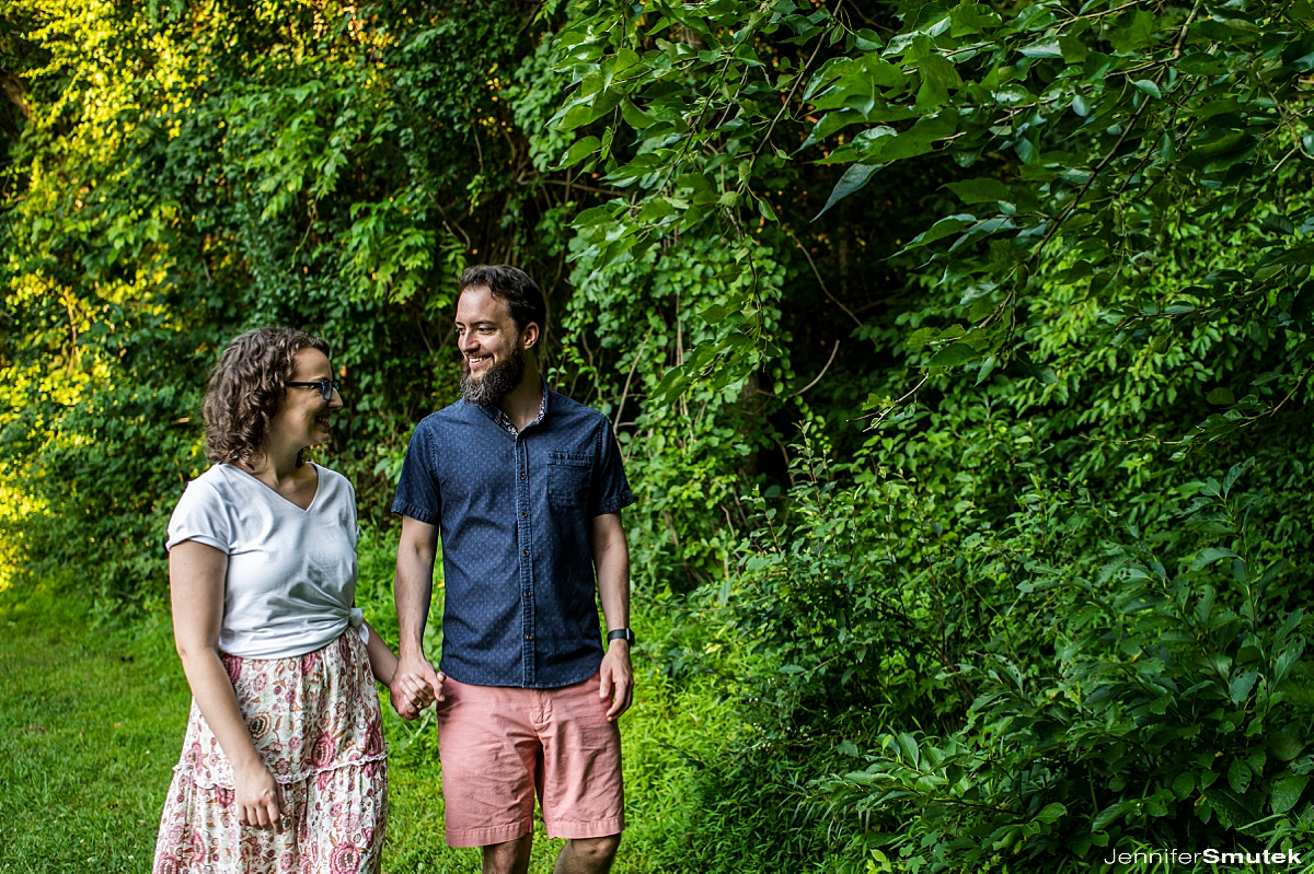 couple laughing centennial park engagement session