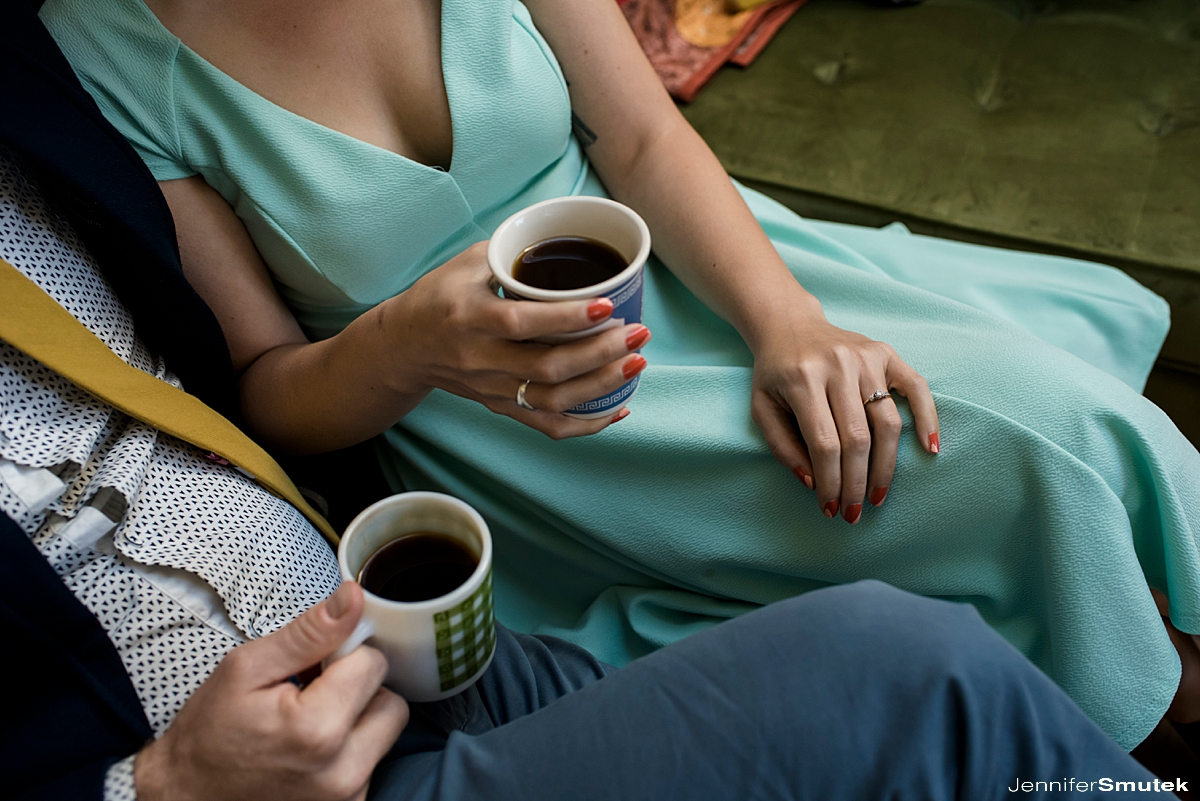 couple holding coffee
